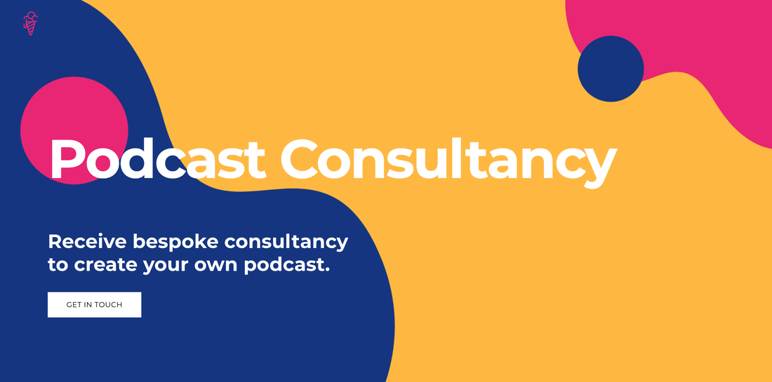 Screenshot of podcast consultancy websites landing page